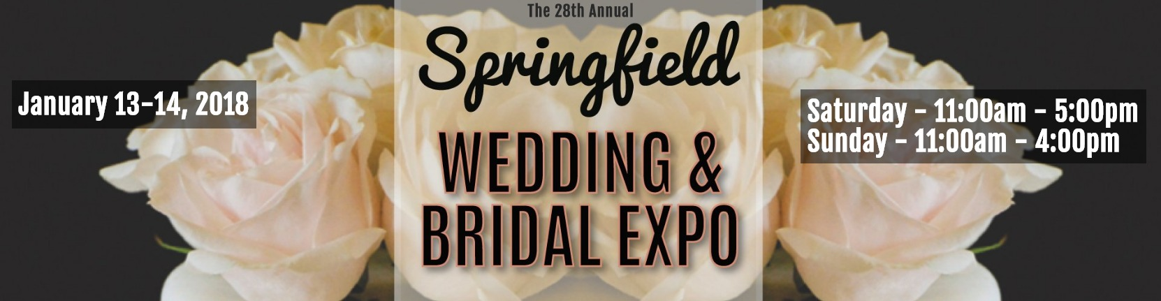2018 Springfield MA Wedding & Bridal Show Sat 1/13 11am-5pm & Sun 1/14 11am- 4pm, produced by Jenks Productions.